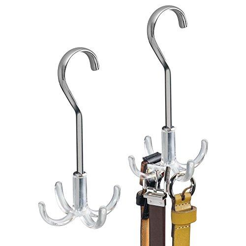 mDesign 2er-Set Schrank Organizer mit je vier Haken - praktischer Krawattenhalter und Gürtelhalter für den Kleiderschrank - silberfarben/durchsichtig