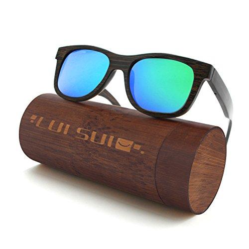 4368d122ff LUI SUI Hombres Mujeres Retro Madera Lentes Polarizadas Gafas de sol  Protección UV Gafas Ligeras Gafas