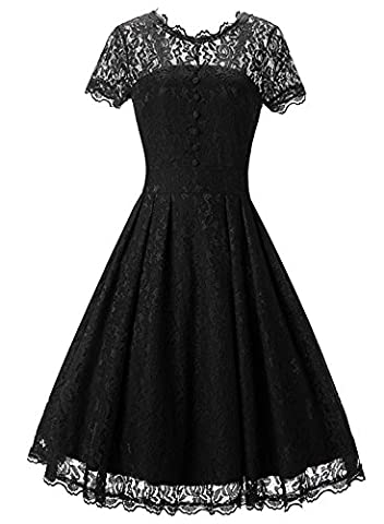 iPretty Women's Dress A-line Dresses Scroop Neck Lace Shirt Casual Party Wedding Dress Black