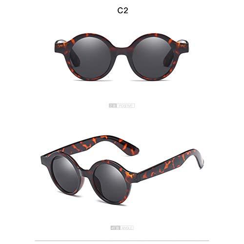 ZRTYJ Sonnenbrille Vintage kleine runde Sonnenbrille 90er Jahre Frauen Markendesigner Sonnenbrille Schildpatt Leopard Frame Circle Lens