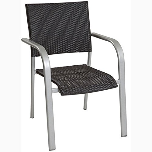 JUSTyou ALBERGO WICKER Chaise Bistro en Acier Chaise de jardin Platine Noir