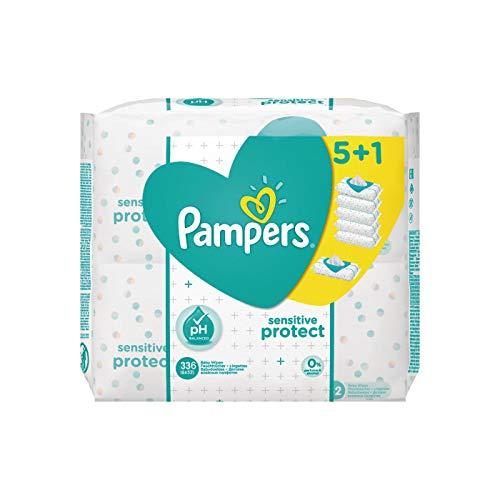 Pampers Sensitive Feuchttücher, 336 Stück (6 x 56 Stück)
