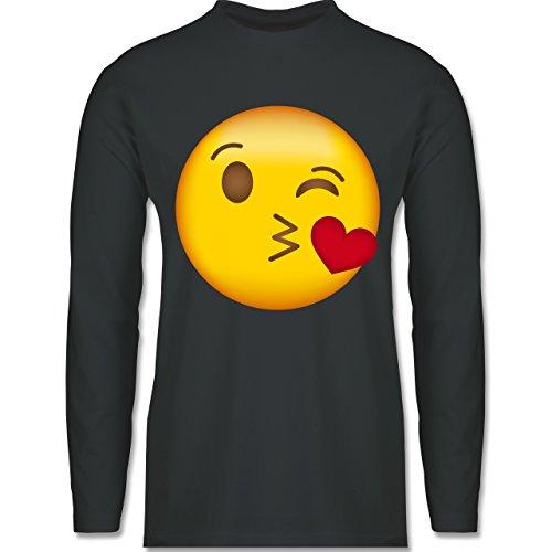 Shirtracer Comic Shirts - Emoji Kuss-Mund - Herren Langarmshirt Dunkelgrau