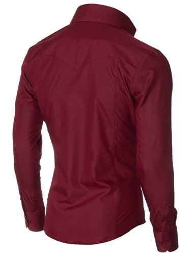 MODERNO - Slim Fit Manches Longues Habillee Chemise Homme (MSSF501) Bordeaux