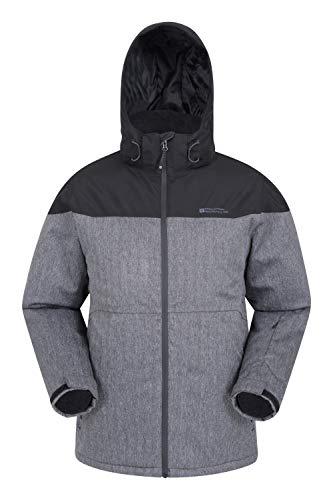 Mountain Warehouse Stratosphere Herren-Skijacke - wasserdichte Snowboardjacke, warme, atmungsaktive Winterjacke, verschweißte Nähte, Schneefang, Skipass Tasche Schwarz Small