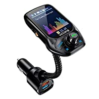 "VicTsing (Upgraded Version) Bluetooth FM Transmitter, Auto Scan Unused Station Bluetooth Radio Transmitter Adapter for Car with 1.8"" Color Screen, QC 3.0, EQ Modes, Aux, Hands-Free Calls"