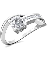 Ring For Women With Certified Taper Baguette Real Diamond Wt 0.05 Ct In Sterling Silver 925, Silver Taper Jewels...