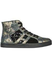 757f5a9913e62 Hogan Rebel Scarpe Sneakers Alte Donna in Pelle Nuove r141 Nero