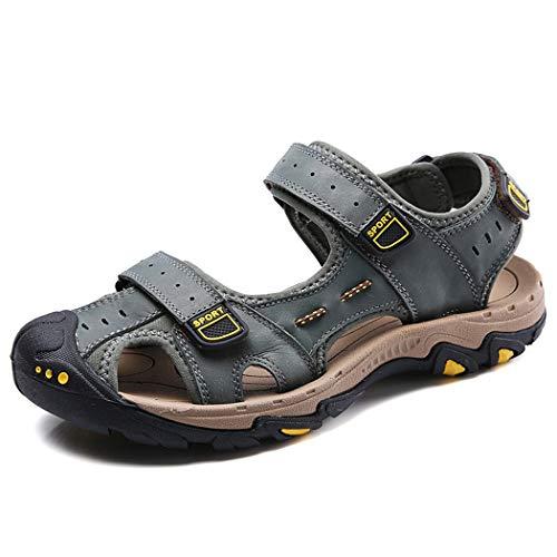 Jeff-chy Sandali Sportivi da Uomo Sandali da Trekking in Pelle Casual da Spiaggia Casual Sandali da Trekking Atletici Antiscivolo Baotou Sandali antiusura Antiscivolo,Khaki,45