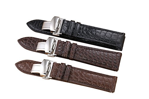 c96fcf43d 18mm Dark Brown / Coffee Watch Straps/Bands Replacement Genuine Luxury Alligator  Skin Leather Handma