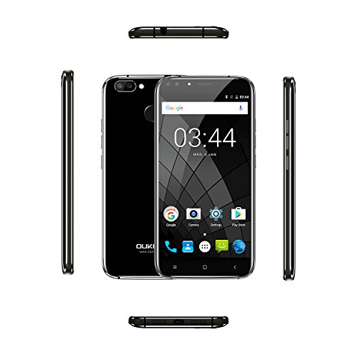 "OUKITEL U22 - 5,5"" 3G Smartphones Libres, Android 7,0 Quad Core 2 GB+16 GB, 4 Cámaras, Posterior 13.0MP+2.0MP, Front 8.0MP+2.0MP, SIM Dual, Negro Teléfono Móvil"