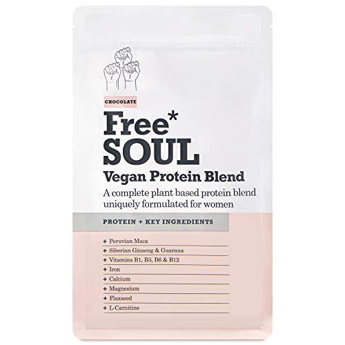 Free Soul Vegan Protein Pulver für Frauen | 20g Protein | Veganes Proteinpulver Shake mit Superfoods, Mineralien und Vitaminen | Nutrition Shake ohne Gluten, Soja, Süßstoff | 600g (Schokolade)...