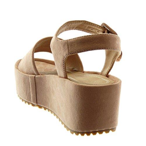 Angkorly Chaussure Mode Sandale Mule Lanière Cheville Plateforme Femme Lanière Boucle Talon Compensé Plateforme 5.5 cm Rose