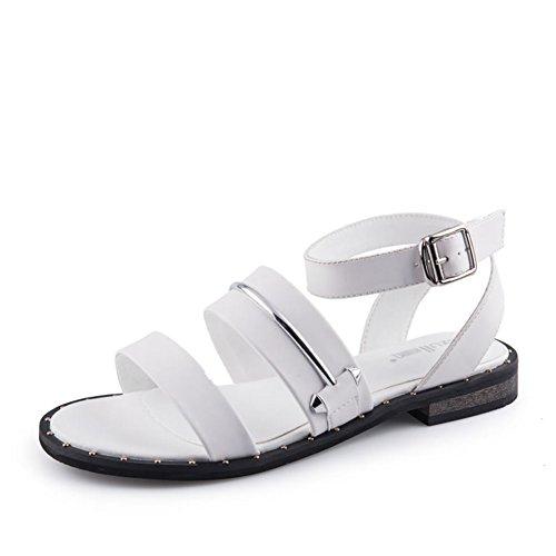 Estate,rivetto,sandali tacco basso/signora,sandali-A Lunghezza piede=23.8CM(9.4Inch)