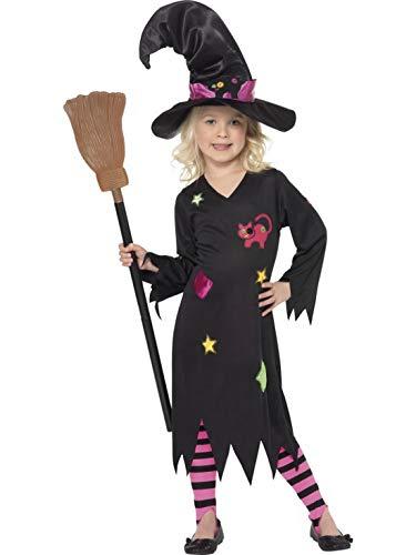 Halloweenia - Mädchen Kinder Kostüm Kleine Holzhexe Hexe Zauberin Magierin Kleid mit Strumpfhose und Hut, Little Witch Woodwitch, perfekt für Halloween Karneval und Fasching, 104-116, ()