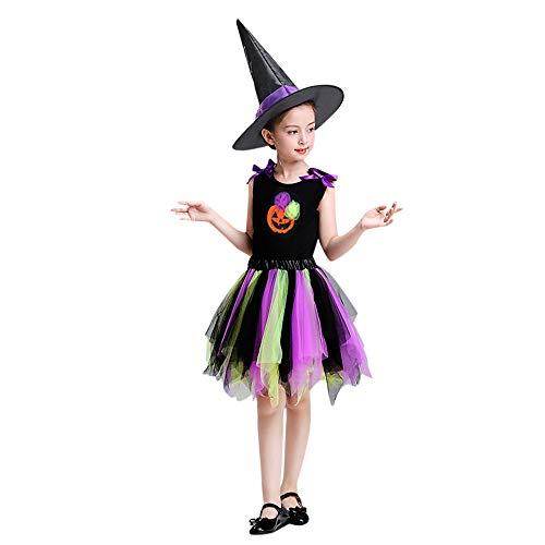 (Riou Kinder Langarm Halloween Kostüm Top Set Baby Kleidung Set Kleinkind Kinder Baby Mädchen Halloween Kleidung Kostüm Rock Tops Party Sets Hut Kürbis Print Kleidung (140, Lila))