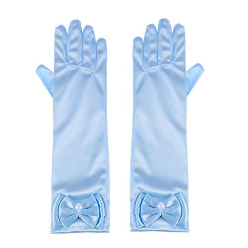 Toyvian 1 Paar Blumenmädchen Kinder Satin Handschuhe mit Schleife für Prinzessin Kostüm Zubehör Hochzeit Party Bankett (Hellblau)