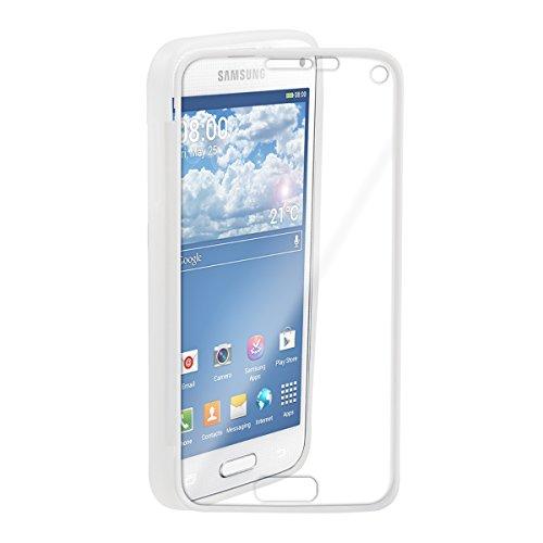 Bedeckt Knopf Vorne (kwmobile TPU Silikon Hülle für Samsung Galaxy S5 Mini - Full Body Protector Cover Komplett Schutzhülle Case in Weiß)