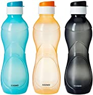 Amazon Brand - Solimo Plastic Water Bottle Set with Flip cap (Set of 3, 975ml, Multicolor)