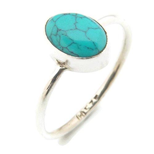 Ring Silber 925 Sterlingsilber Türkis blau grün Stein (MRI 10), Ringgröße:48 mm/Ø 15.3mm