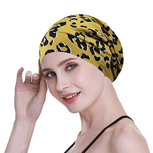 FocusCare Damen satin gefüttert schlaf slouchy cap curly slap kopfbedeckung geschenke für kraus haar eine größe passt meistens streifen -