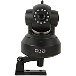 D3D Wireless HD IP Wifi CCTV [Watch ONLINE DEMO right now] indoor Security Camera (support upto 128 GB Micro SD card) (Black Color) Model:D8801