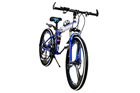 R Cycles Foldable Adventure Sports MTB Cycle With 21 Shimano Gears Blue Colour