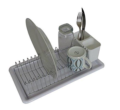 Homiso–Escurreplatos compacto cromado de metal para cocina con bandeja de plástico de color blanco