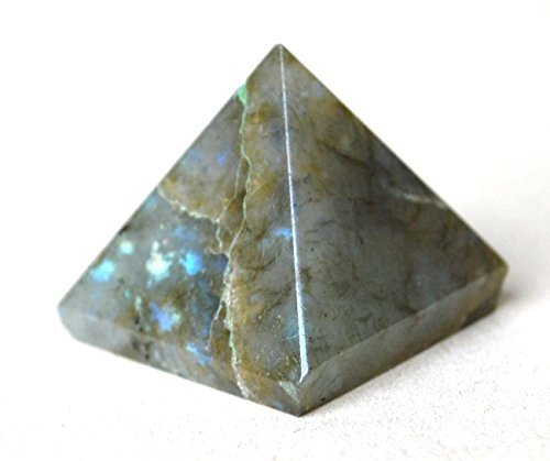 Reiki Healing Energy Charged Krystal Gifts UK Labradorite Crystal Pyramid (approx 1.5 cm) Including Crystal Description & Beautifully Gift Wrapped by Krystal Gifts UK