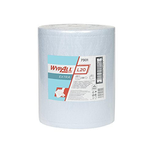 WypAll 07301060 L20 Extra+ Wiper Large Roll - One Roll x 500 Blue, Two Ply Sheets