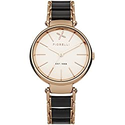 Fiorelli Women's Quartz Watch with Rose Gold Dial Analogue Display and Two Tone Plated Bracelet FO011BRGM