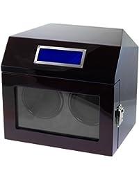 Lindberg & Sons Bobinadora para 2 relojes automáticos Madera negra Terciopelo color crema Luces LED - WW-8211-b