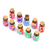 Garciakia 10 Pcs Portable Mini Glass Polymer Clay Bottles Containers Vials With Corks Can Put In Some Powder Or Beads Jewellery