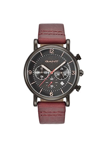 Gant Springfield Men's Quartz Watch with Black Dial Analogue Display and Red Leather Strap Gt007002