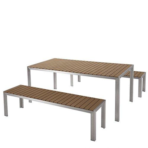 Nardo Gartentisch aus Aluminium, braun, Platte aus Polywood 180 cm und 2 Bänke