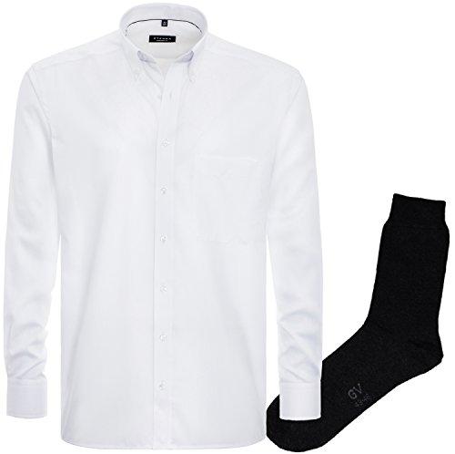 eterna Herrenhemd Comfort Fit Weiß Fein Oxford + 1 Paar Hochwertige Socken, Bundle Feine Oxford
