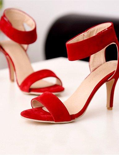 LFNLYX Chaussures Femme-Mariage / Habillé / Décontracté / Soirée & Evénement-Noir / Rouge-Talon Aiguille-Talons-Sandales-Laine synthétique Black
