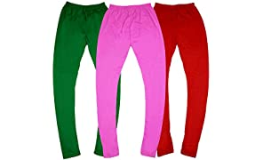 GOODTRY G Girls Viscose Leggings Pack of 3-Onion,Red,Green