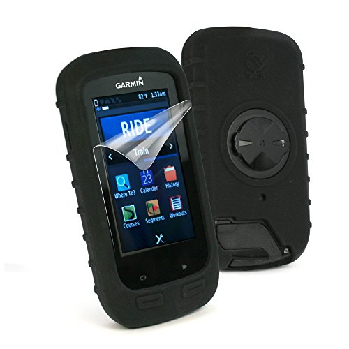 tuff-luv-silicone-gel-skin-case-cover-with-screen-protector-for-garmin-edge-1000-black