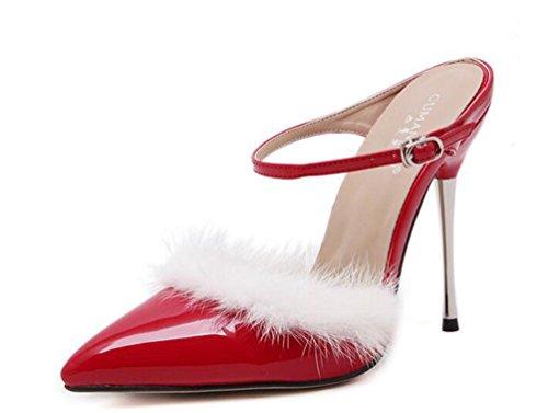 Cinghie di caviglia di cerimonia nuziale Pompe Scarpin 11cm Heel Decorazione dei capelli del coniglio Donne di estate Scarpe punte punte UE Taglia 35-40 Red