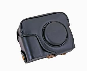 Un Etui caisson à deux volets en cuir rigide avec un creux fileté pour le trépied pour appareils photo numériques SONY RX100 RX-100 (Noir).