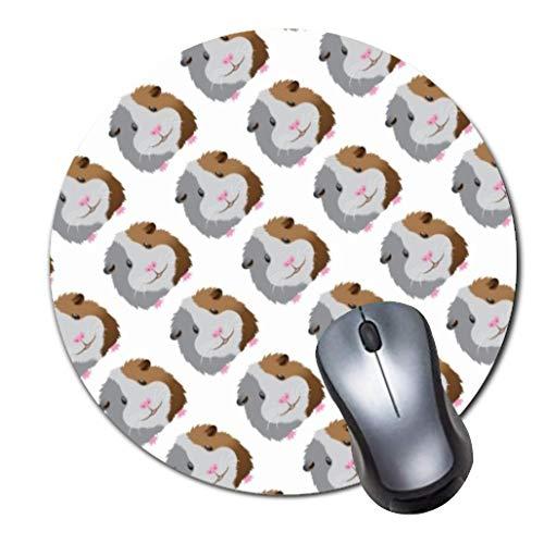 ROOMBA Mauspad, niedliches Mauspad mit Design, klein, rutschfeste Gummiunterseite, mit aktualisierten Nähten Rand, Schreibtisch-Zubehör, rundes Mauspad mit süßem Meerschweinchen-Gesicht, -