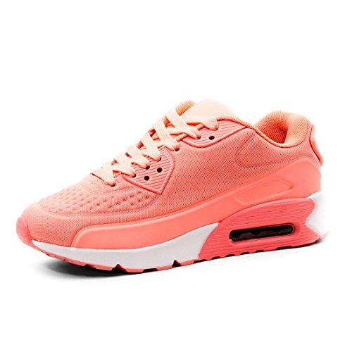 Trendige Damen Laufschuhe Schnür Sneaker Sport Fitness Turnschuhe Coral 37 Coral Damen Laufschuhe
