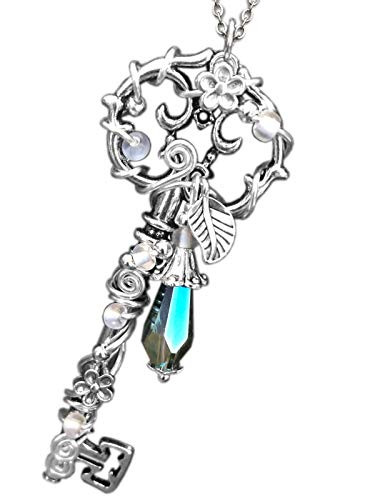 Katharina Fairytale Damen Mädchen Kette Schlüssel zum Elfenreich Aurora - Magic Blue nachtleuchtend Glücksbringer Amulett Talisman 015-blue