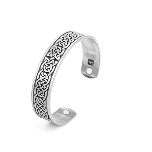 Skyrim Health Care Magnetic Bangle Bracelet for Releaseing Pain Relief, Therapy, Balance and Energy for Men and Women(Silver)