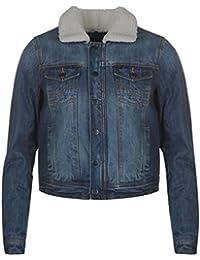 Firetrap Womens Lined Denim Jacket Coat Top Long Sleeve Zip Chest Pocket Button