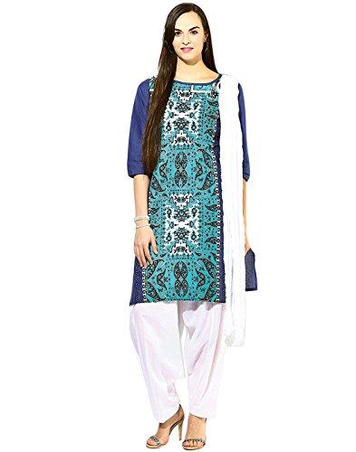 Jaipur Kurta Women's Straight Salwar Suit(JKPTD2492_Turquoise blue_XX-Large)