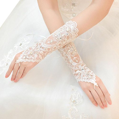 Voberry Women's Fashion Lace Up Fingerless Lace Sequins Short Bridal Wedding Drill...
