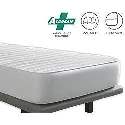 Tural - Cubrecolchón Antiácaros Reversible - Protector de colchón Acolchado. Talla 90x200cm