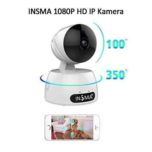 Galleria fotografica INSMA® 1080P HD Home Video di rete della fotocamera 8volte la digitale di rinforzo di 355gradi 100gradi allarme rilevamento movimento Massimo Supporto 64G Bianco